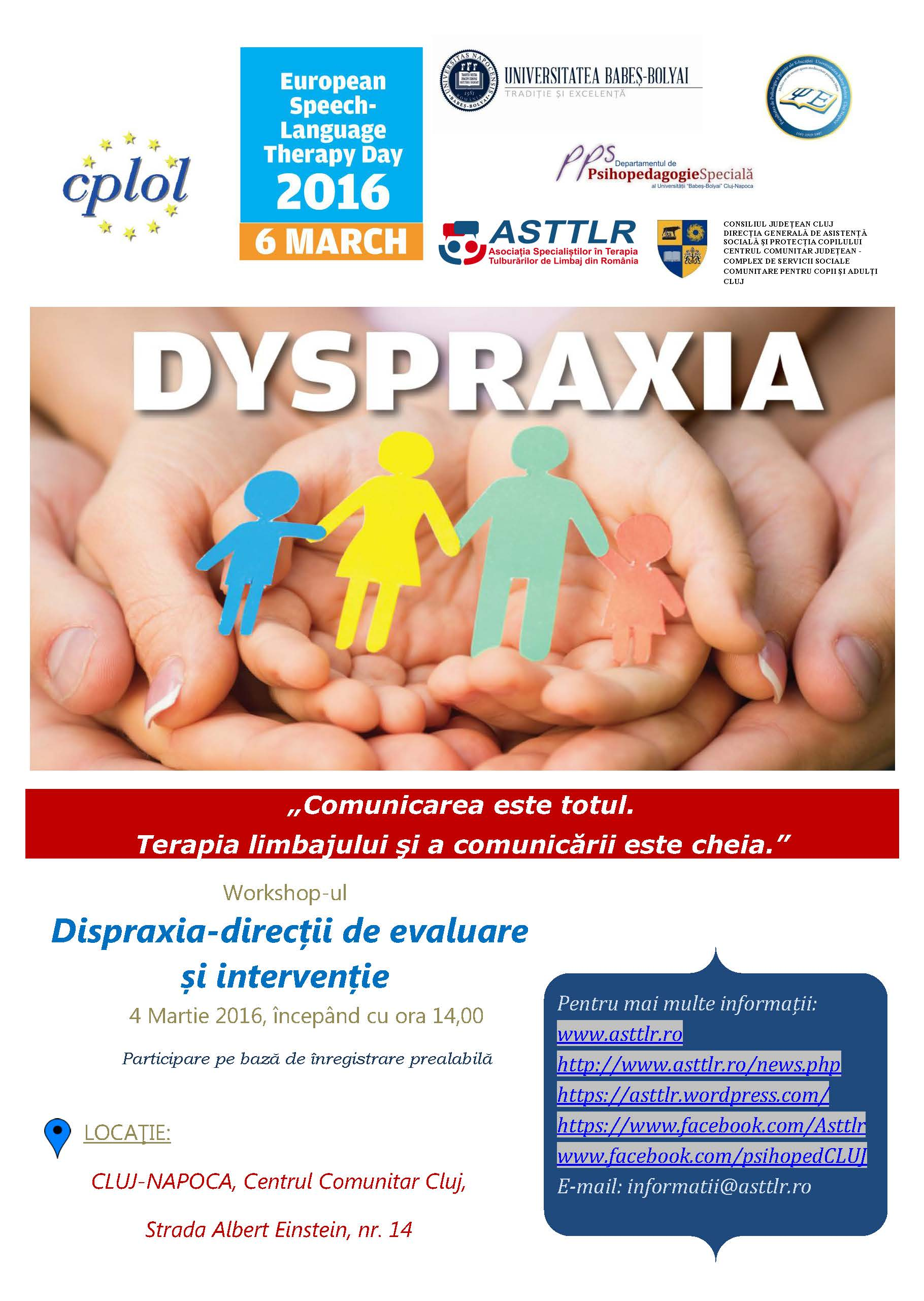 afiș European Speech Language Therapy Day - Dispraxia-direcţii de evaluare şi intervenţie