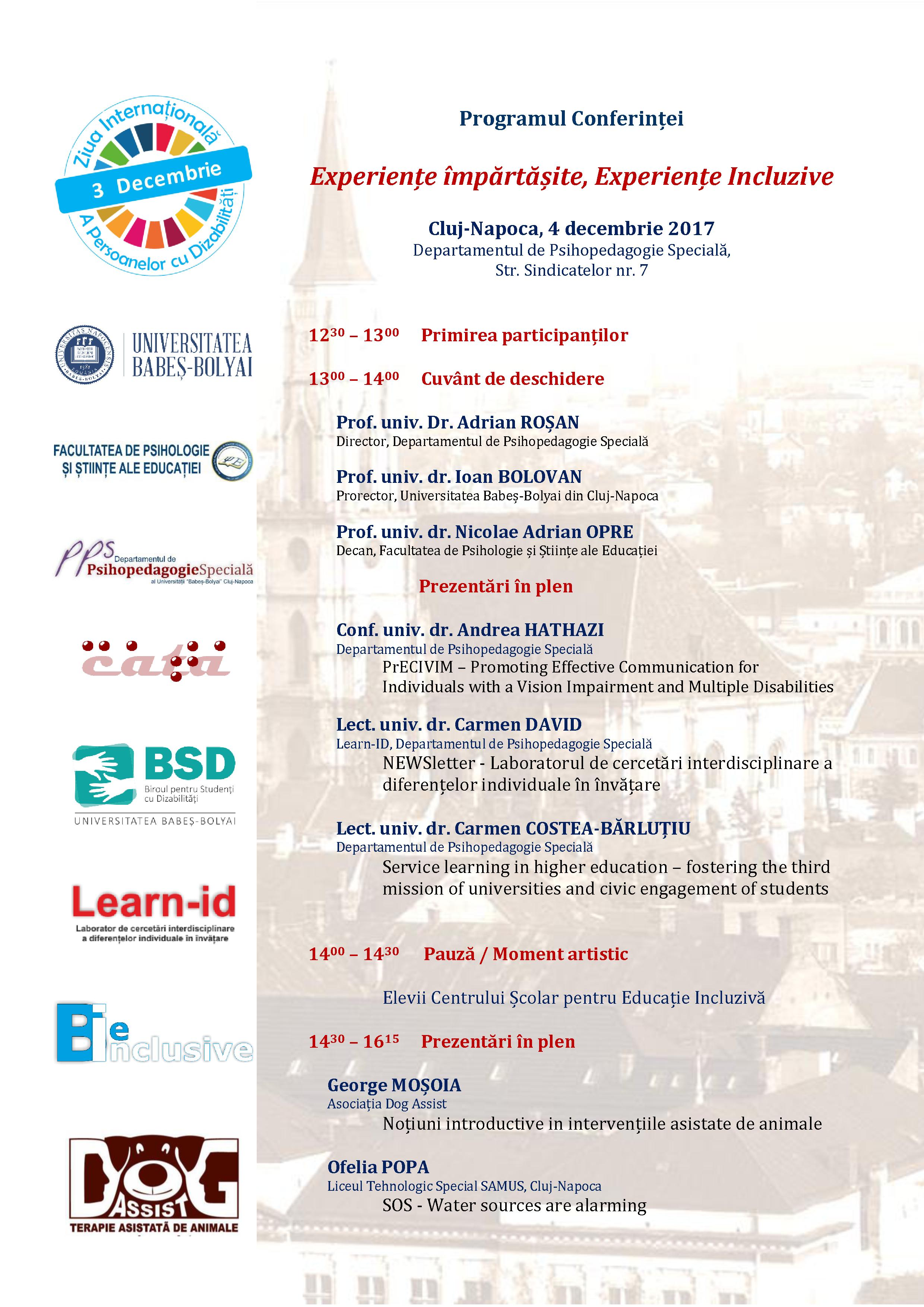 programul conferintei - pagina 1