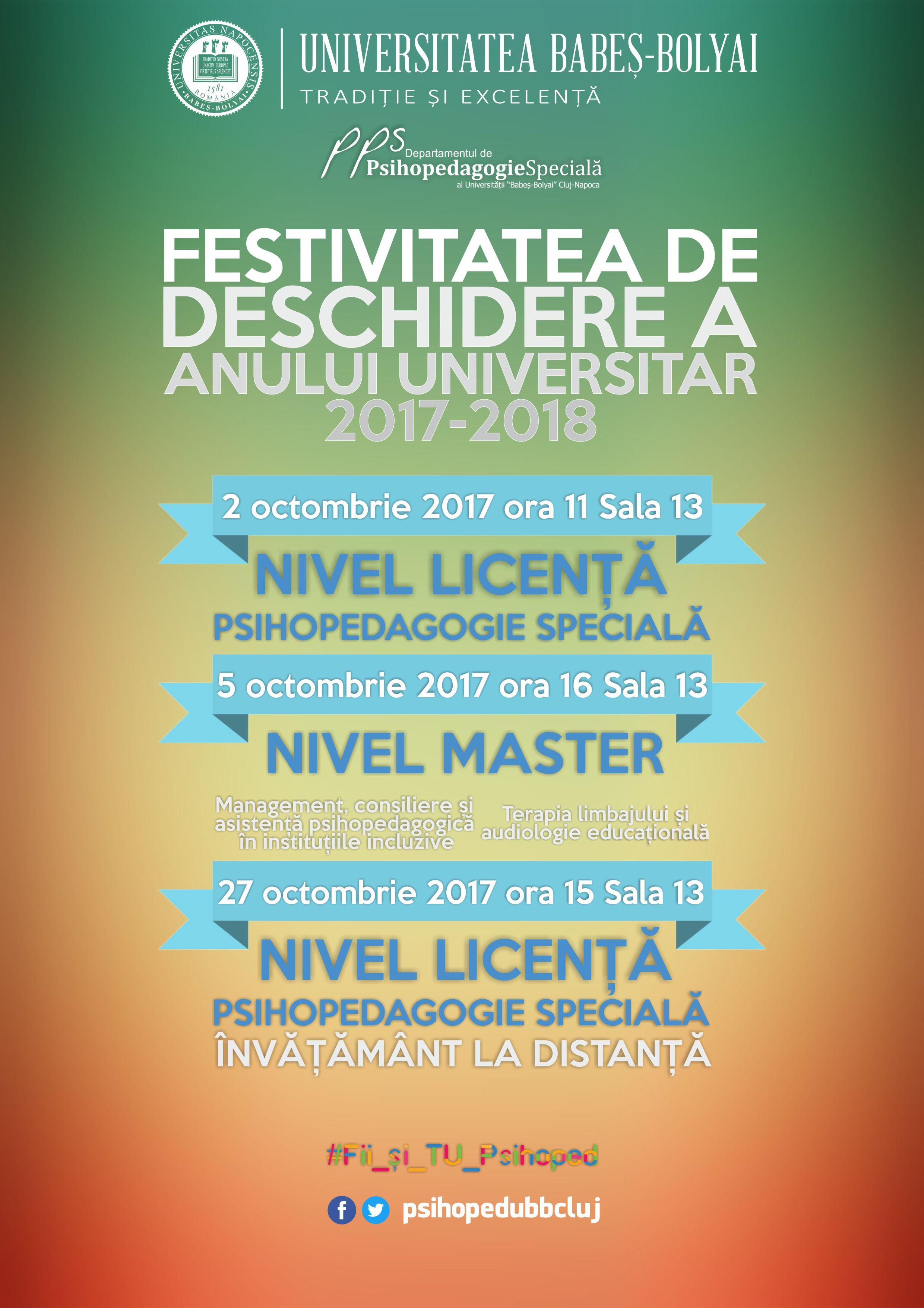 Deschiderea anului universitar 2017-2018 - ZI, Masterat MCA si TLA, ID