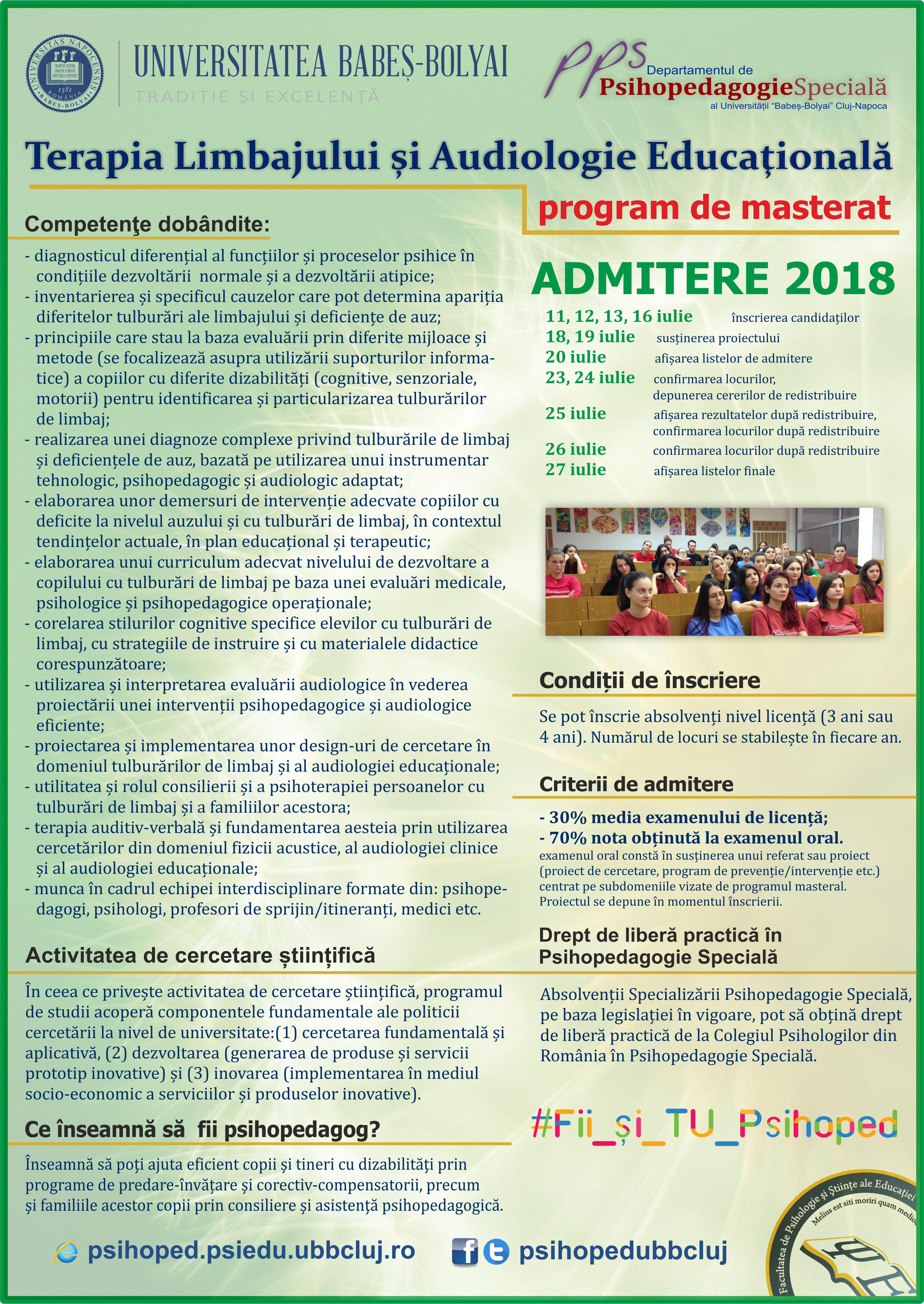 afis admitere masterat TLA 2018